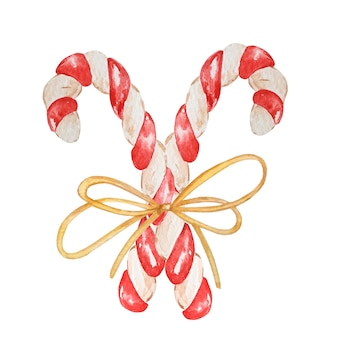 水彩画のクリスマスキャンディケイン。手描きの2つのキャンディー、弓で結ばれた縞模様のロリポップ、分離