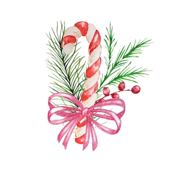 Watercolor christmas candy cane with decor.