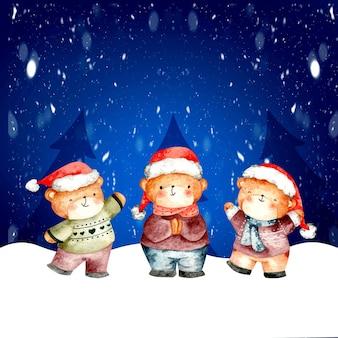 눈 속에서 수채화 크리스마스 카드 곰