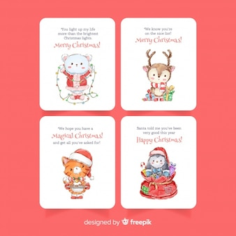 Watercolor christmas card collection