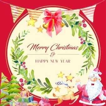 Акварельное украшение рождественской открытки с венком из зеленых листьев. дед мороз, олень с подарочной коробкой и елкой внизу.