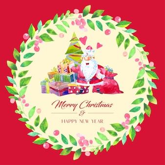 Акварельное украшение рождественской открытки с венком из зеленых листьев. дед мороз с подарочной коробкой и елкой посередине.