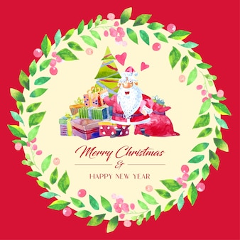 Watercolor christmas card decoration with green leaves wreath. santa claus with a gift box and a christmas tree in the middle.