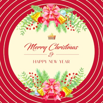 Watercolor christmas card, large red bow, golden christmas bells, red and chrome christmas balls and leaves on top and bottom. circle pattern surrounds.