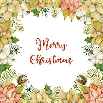 Watercolor christmas card made of poinsettia fir branches holly leaves  and cottons
