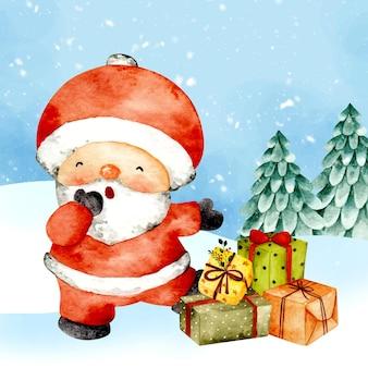 Акварельная рождественская открытка санта-клаус и подарок