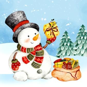 Акварель рождественская открытка снеговик и подарок