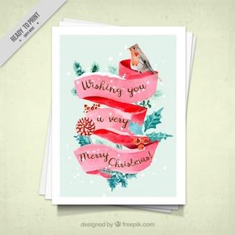 수채화 스타일에서 조류와 수채화 크리스마스 카드
