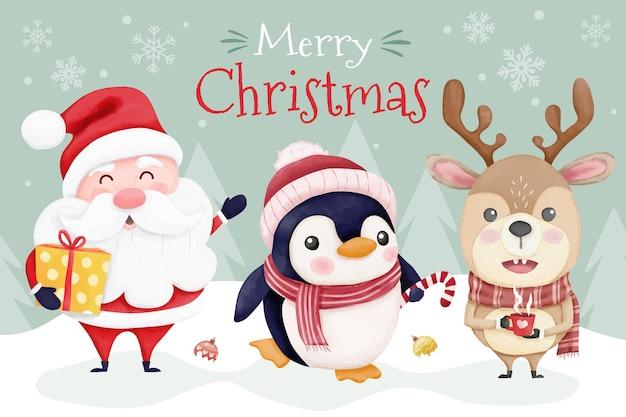 귀여운 산타와 친구들이 있는 수채화 크리스마스 카드