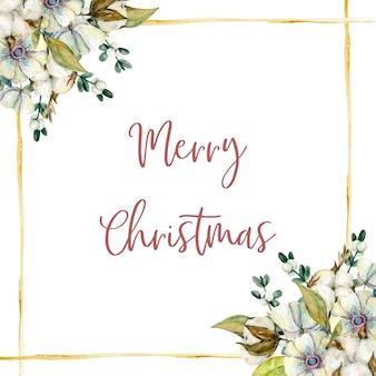 Акварельная рождественская открытка с цветами омелы хлопковой веткой анемонов и золотыми линиями