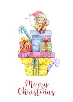 선물 상자와 귀여운 마우스가 있는 수채화 크리스마스 카드