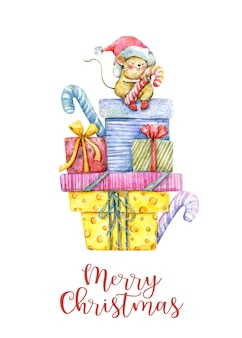 Watercolor christmas card with gift boxes and cute mouse