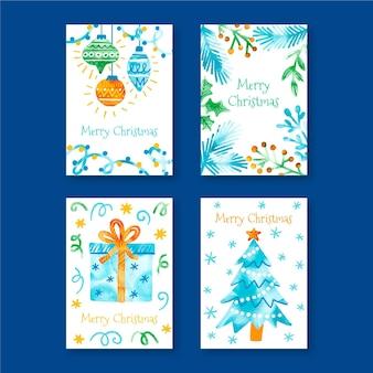 Коллекция акварельных рождественских открыток