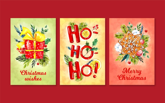 Watercolor christmas cards pack