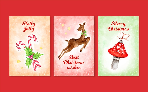 Watercolor christmas cards set