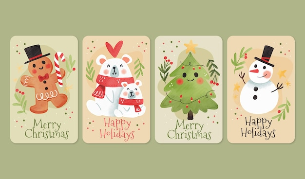 Watercolor christmas cards template