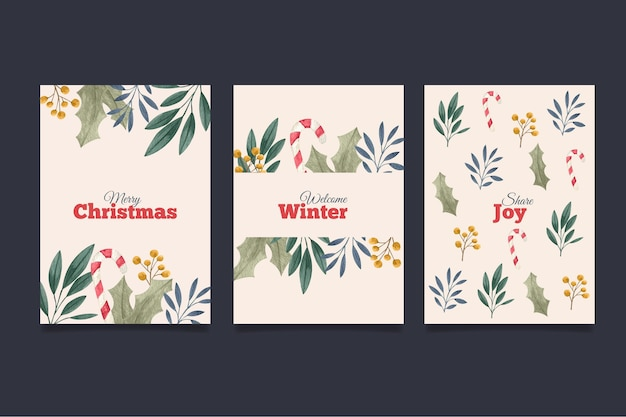 Cartoline di natale dell'acquerello