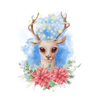 Watercolor christmas character deer