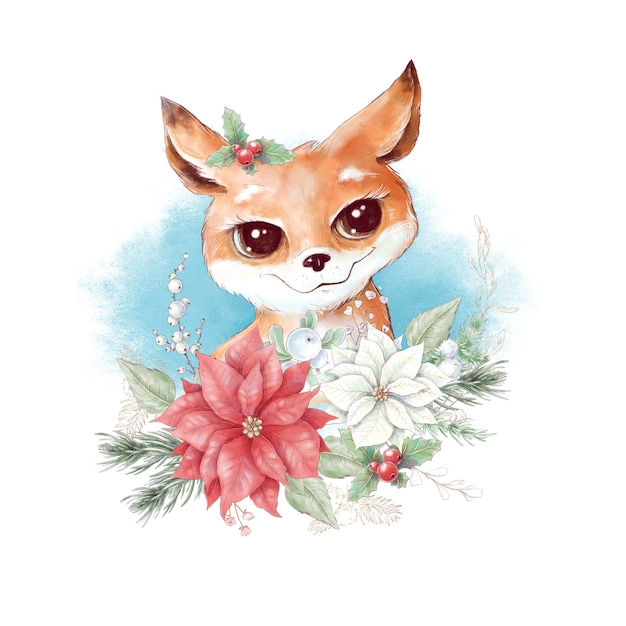 Акварель рождественский персонаж лиса