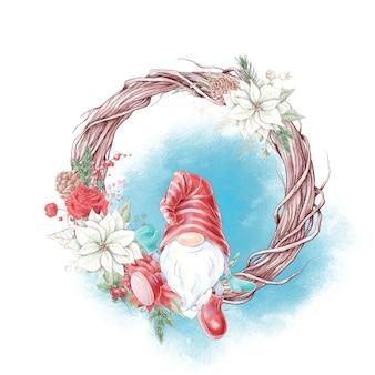 Watercolor christmas character gnome