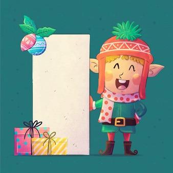 空白のバナーを保持している水彩画のクリスマスのキャラクター