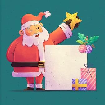 빈 배너를 들고 수채화 크리스마스 캐릭터