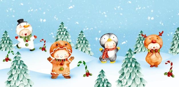 雪の背景に水彩のクリスマスキャラクター