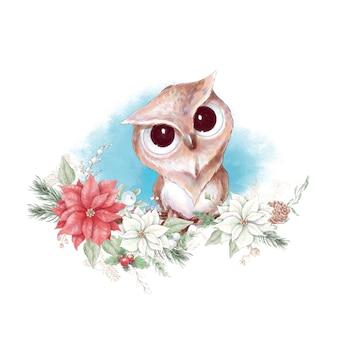 Watercolor christmas character owl
