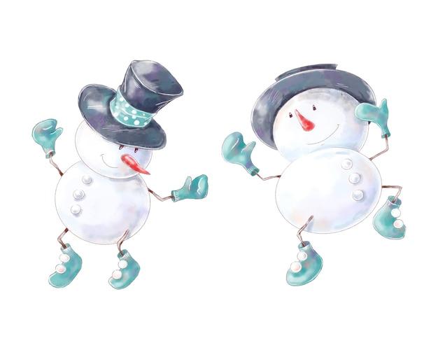 Акварельные рождественские персонажи снеговиков