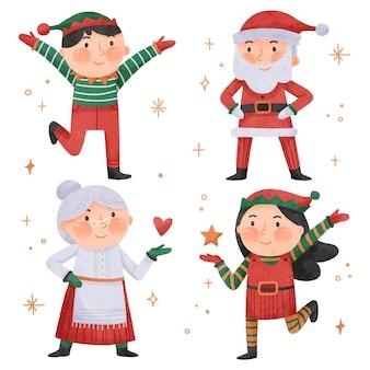 水彩のクリスマスキャラクターコレクション