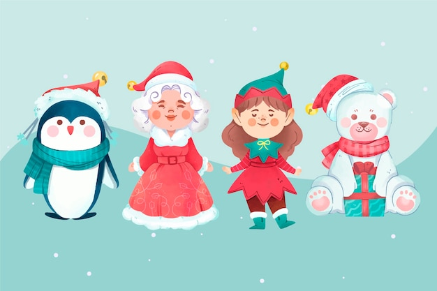 Watercolor christmas characters set