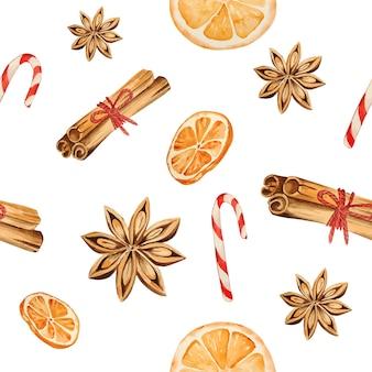 Watercolor christmas cinnamon sticks with star anise