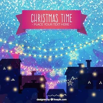 Акварель рождественский городской пейзаж фон с брызгами