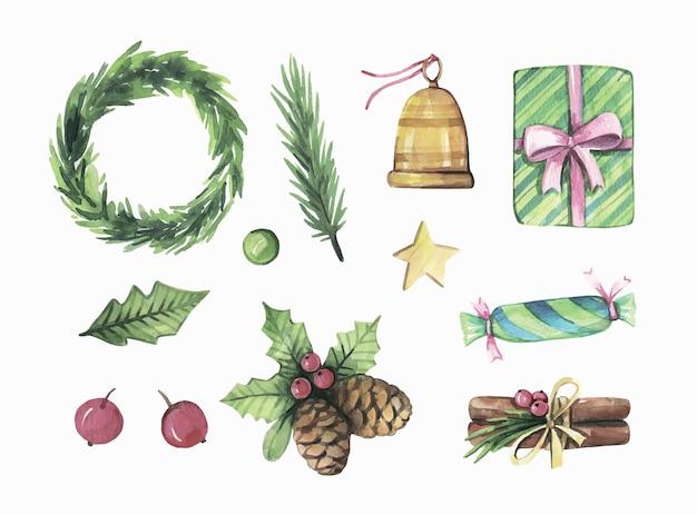 水彩のクリスマスコレクション。 Premiumベクター