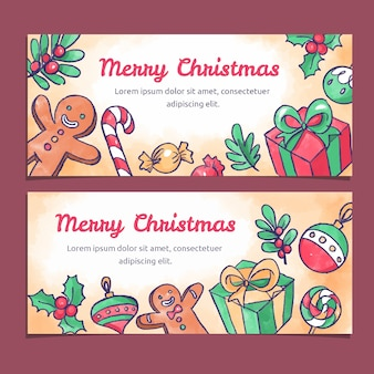 Watercolor christmas colorful banners