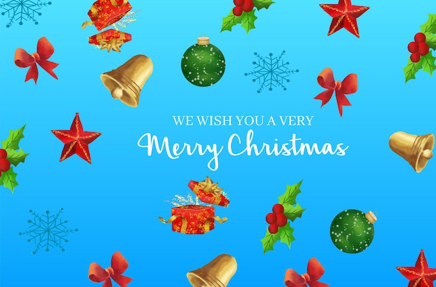Watercolor christmas colorful elements pattern background
