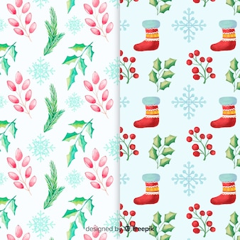Watercolor christmas colorful pattern collection