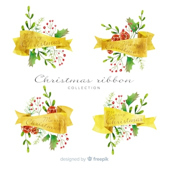 Watercolor christmas colorful ribbon collection