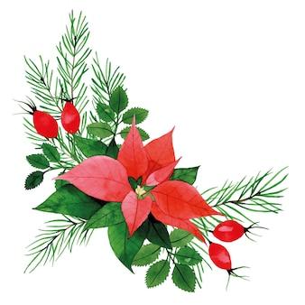 Акварельная новогодняя композиция букет с листьями шиповника пуансета и ягодами еловая ветка