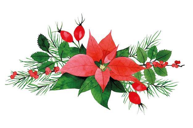 Акварельная рождественская композиция букет с листьями и ягодами шиповника пуансета
