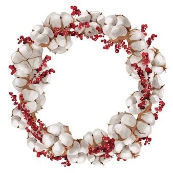 水彩画のクリスマスの綿の花輪のイラスト