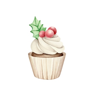 Watercolor christmas cupcake.new year cake.christmas dessert isolated on white background