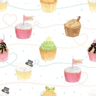 パステル背景のシームレスなパターンの水彩画のクリスマスカップケーキ