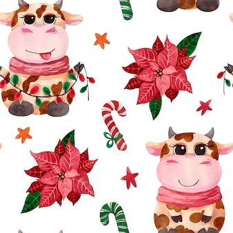 ポインセチアの花、キャンディー、星と水彩のクリスマスかわいい雄牛のパターン