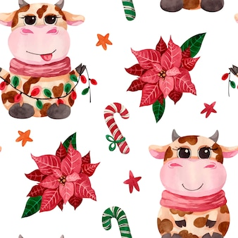 Watercolor christmas cute bull pattern with poinsettia flower, candies and stars