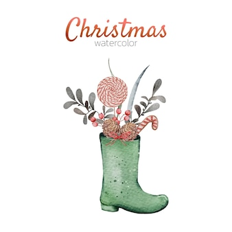 Watercolor christmas cute illustration