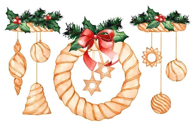 Коллекция акварельных рождественских украшений