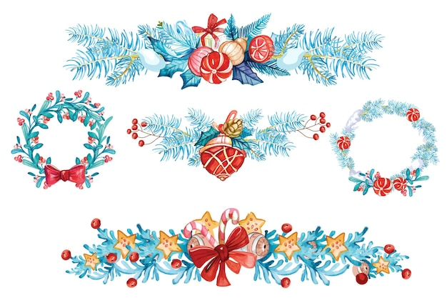 Watercolor christmas decoration collection