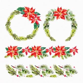 Collezione di decorazioni natalizie dell'acquerello