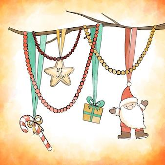 水彩のクリスマス装飾コンセプト